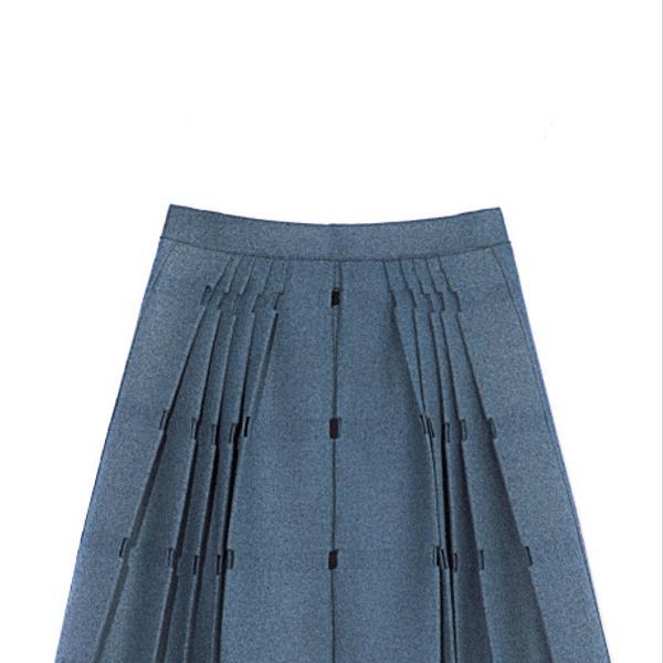Calvin Klein Collection Malachite Plaid Open Weave Wool Felt Pleated Skirt