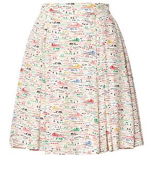 Orla Kiely Silk Crepe Riviera Print Skirt