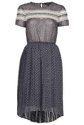 Topshop Lace Panel Pleat Dress