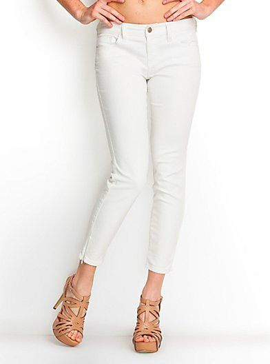 Guess Britney Cropped White Jeans