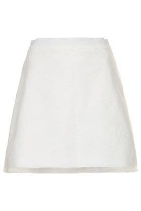 Topshop White Jacquard Organza A-Line Skirt