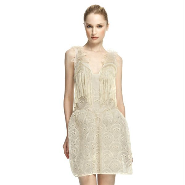 Delpozo Fringe And Eyelet Cage Skirt Mini Dress