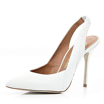 River Island White Pointed Sling Back Court Shoes
