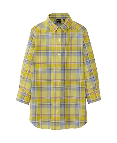 Suno x Uniqlo Plaid Button Down 3/4 Sleeve Shirt