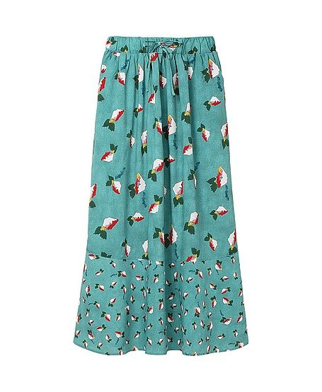 Suno x Uniqlo Blue Printed Long Flare Skirt