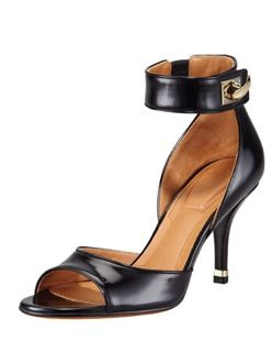 Givenchy  High-Heel Ankle-Wrap Shark Lock Sandals