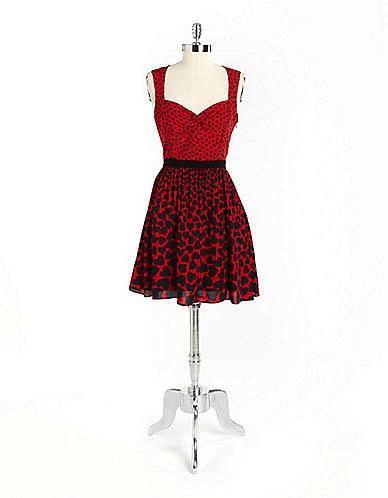 A.B.S. By Allen Schwartz  Printed Sleeveless A-Line Dress