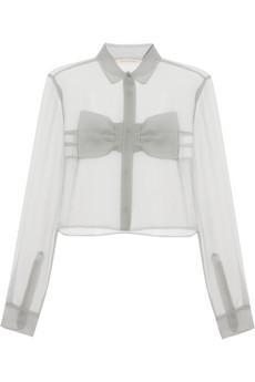 Christopher Kane Bow-Front Crinkled-Chiffon Shirt