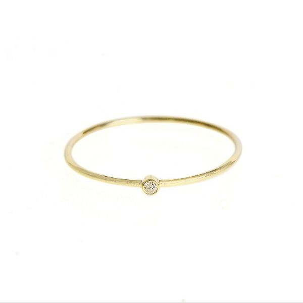 Jennifer Meyer Thin Yellow Gold Band with Bezel Set Diamond