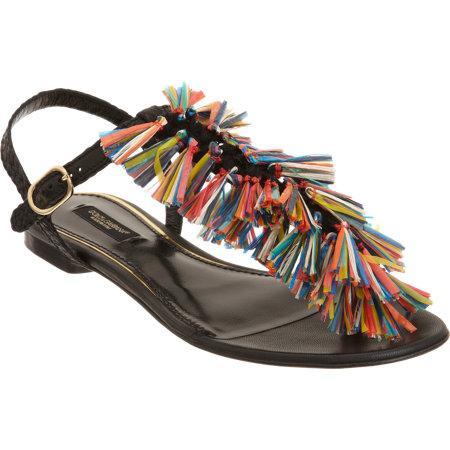 Dolce & Gabbana  Raffia Tassel Thong Sandals