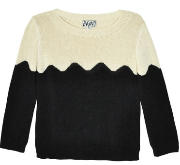 Dusen Dusen Black and Tan Waves Sweater