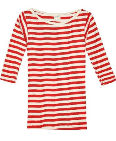 Edith A. Miller  Red & Natural Boatneck ¾ Tee