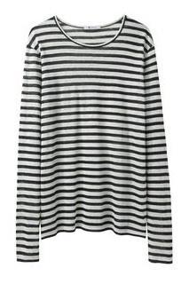 T by Alexander Wang  Linen Stripe Long Sleeve