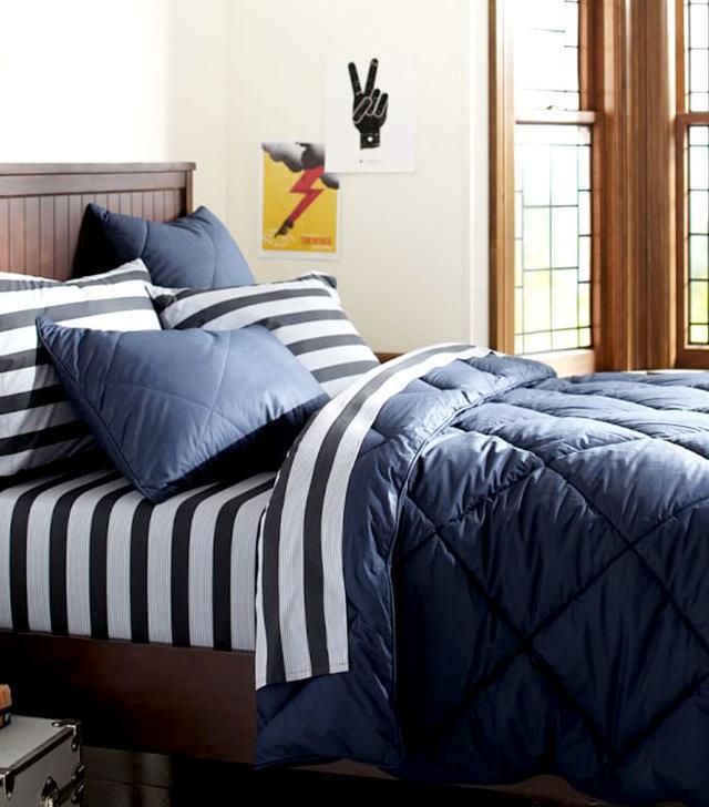 PB Teen Solid Comforter and Sham in Dark Navy