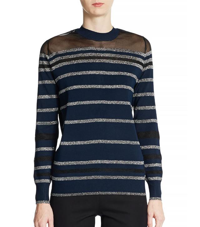 3.1 Phillip Lim Sheer Yoke Metallic Striped Sweater in Navy Silver