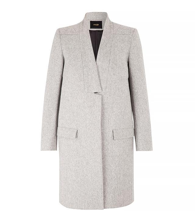 Maje Klinton Straight Fit Wool Coat