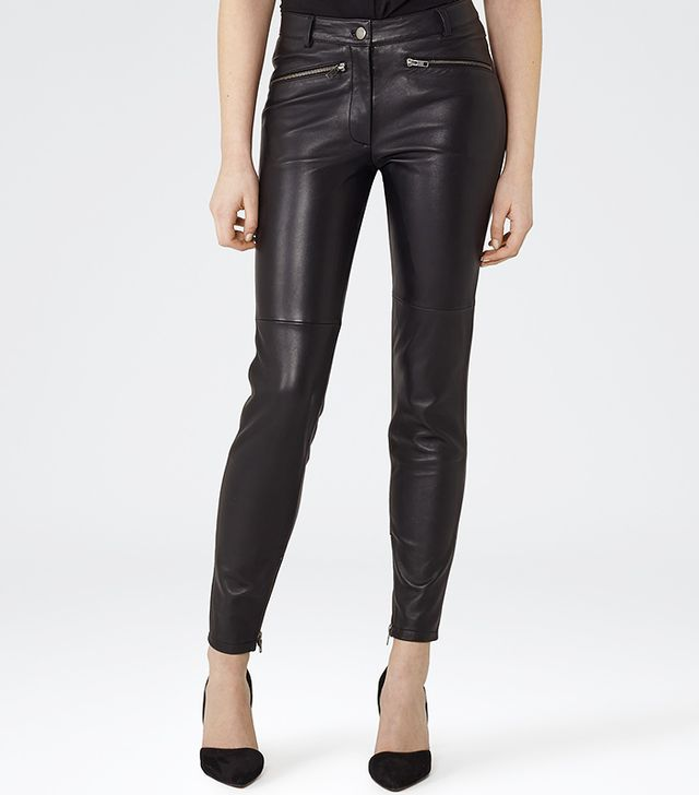 Reiss Harvey Biker Leather Black Trousers