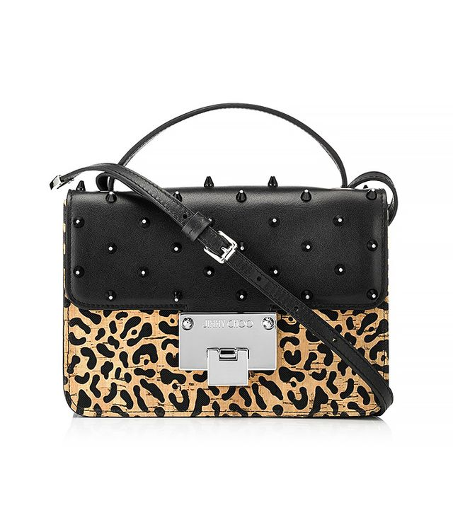 Jimmy Choo Leopard Print Lasered Cork on Black Mesh and Leather