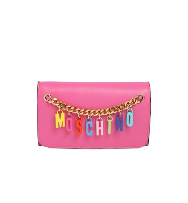 Moschino Logo Charms on Leather Clutch