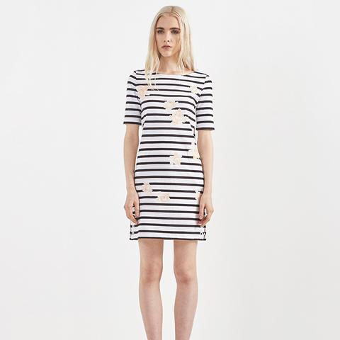 Rose Print Boatneck Dress