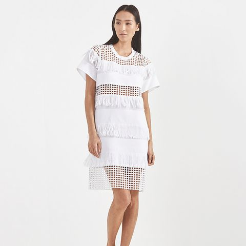 Fringed Cotton T Shirt Dress
