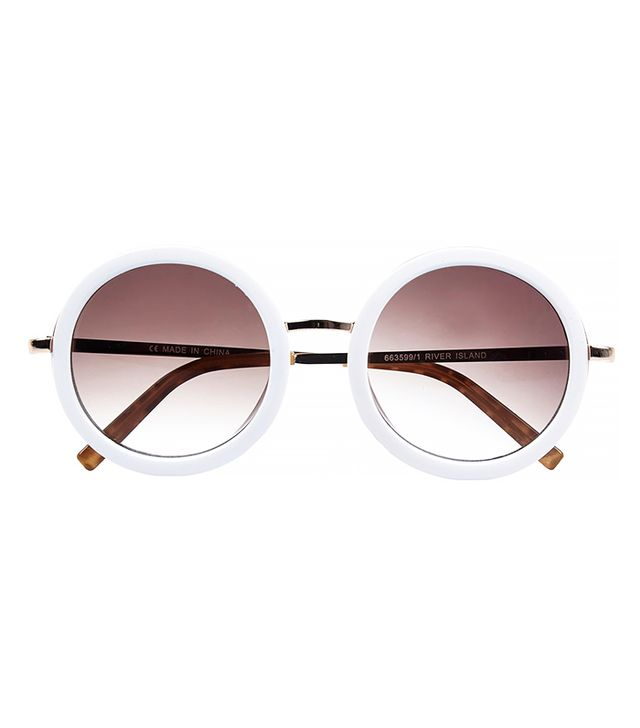 River Island White Round Sunglasses