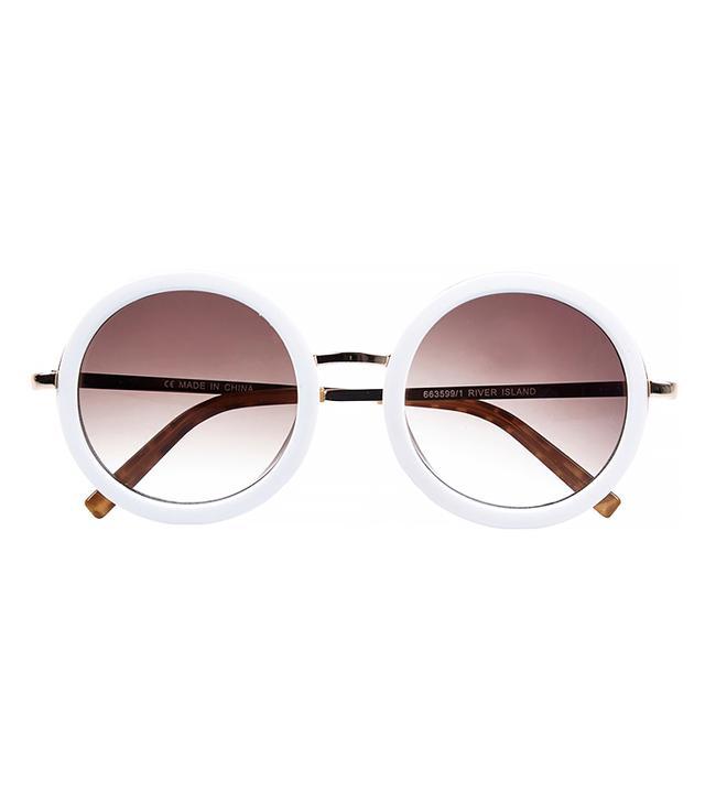 River Island White Round Sunglasses