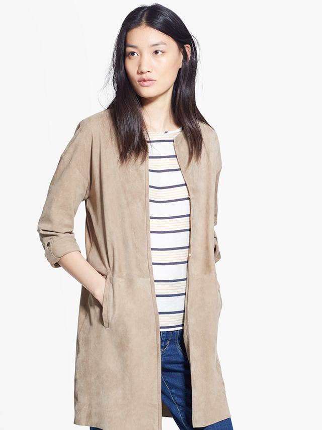 Mango Long Leather Jacket