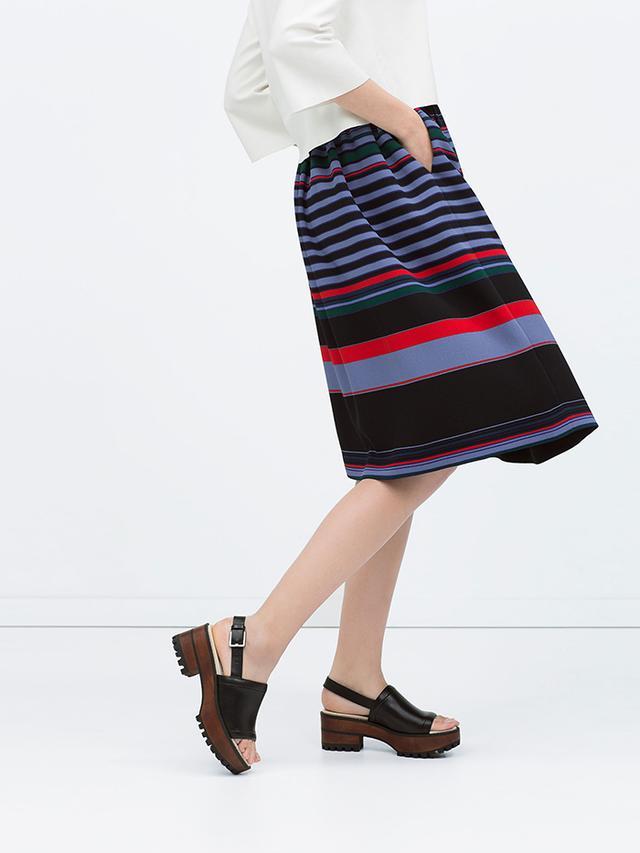 Zara Striped Full Midi Skirt