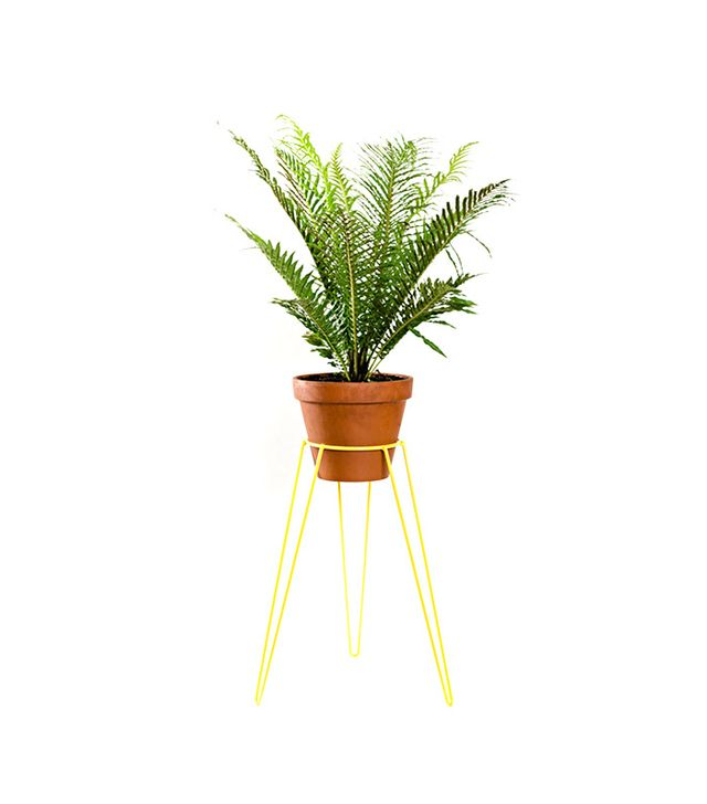Wirely Home Yellow Metal Wire Plant Stand