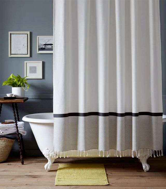 West Elm Stripe Border Shower Curtain