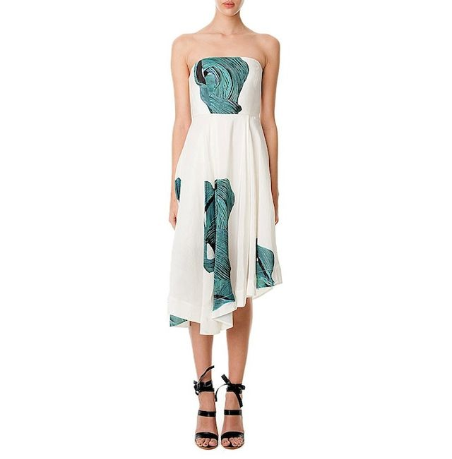 Tibi Midori Silk Strapless Dress