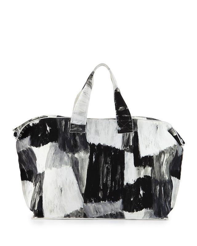 Norma Kamali Watercolor-Print Canvas Bag