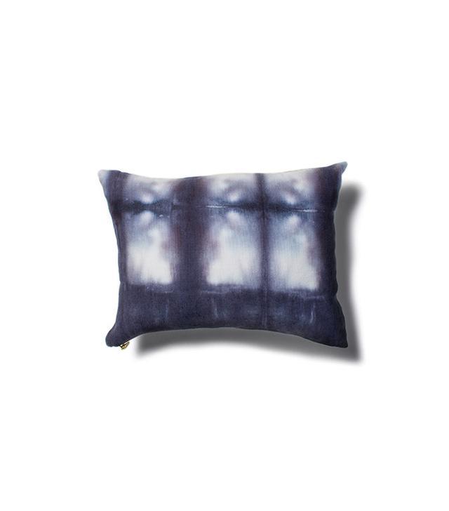 Rebecca Atwood Navy Grid Shibori Pillow