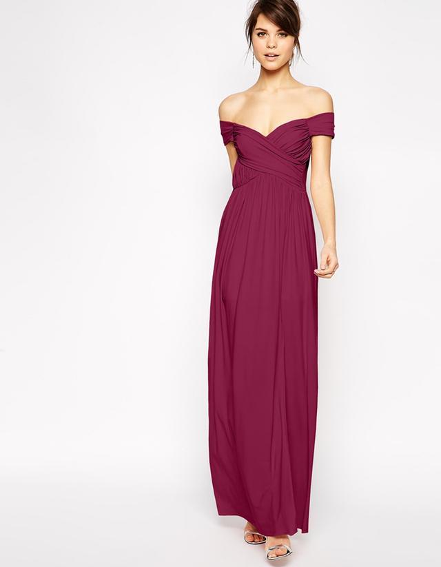 ASOS Bardot Ruched Maxi Dress