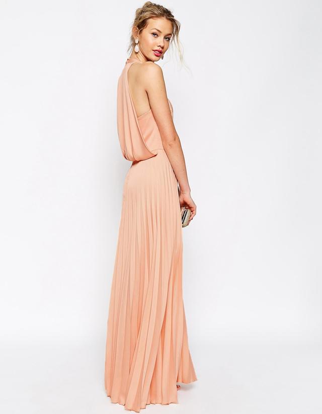 ASOS Pleat Deep Plunge Maxi Dress