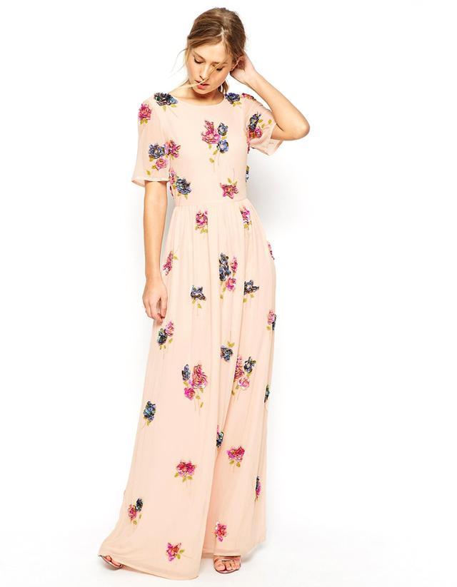 ASOS SALON 3D Floral Cluster Maxi Dress