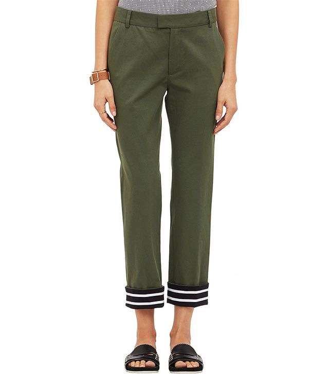 Band of Outsiders Contrast-Cuff Cropped Pants
