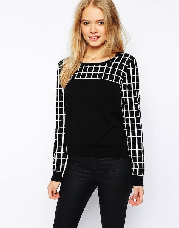 Vero Moda Grid Print Zip Back Sweater