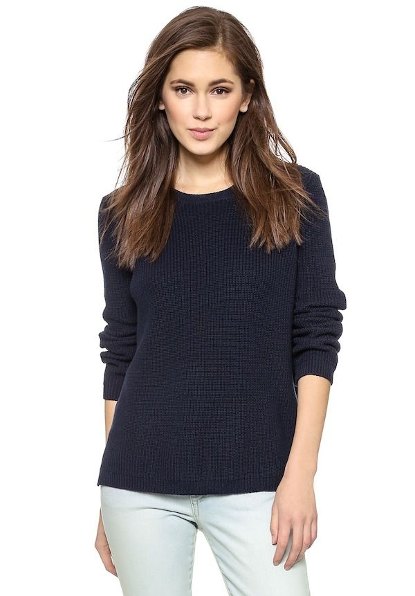 525 America Emma Shaker Hi Lo Crewneck Sweater