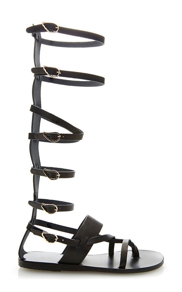 Ancient Greek Sandals Alethea Tall Leather Gladiator Sandals