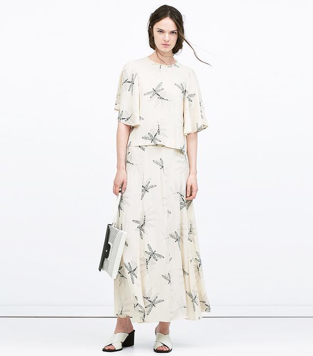 Zara Printed Top ($70) and Skirt ($80)