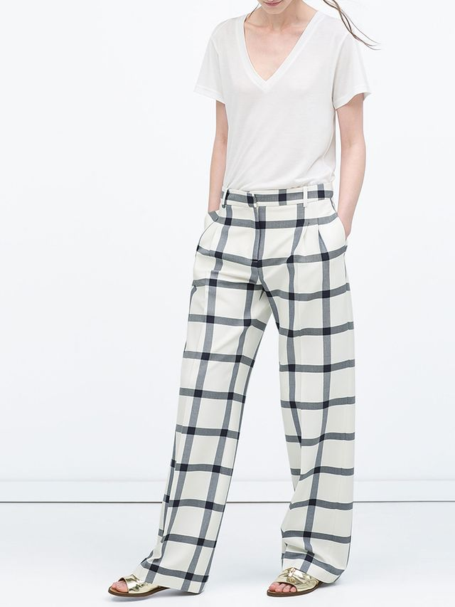 Zara Checked Wide-Leg Trousers