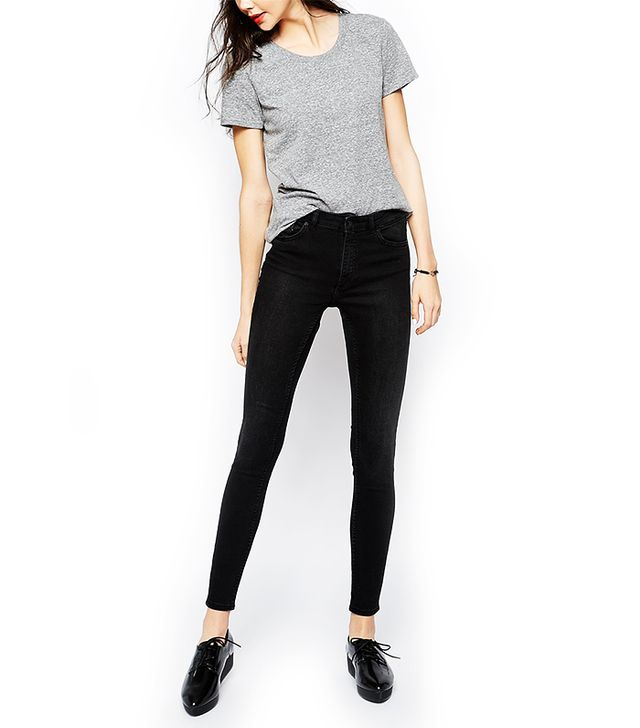 Monki Mocki Super Stretch Jeans In Washed Black