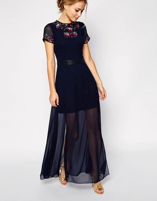 Frock and Frill Maxi Dress with Garden Floral Embellishment