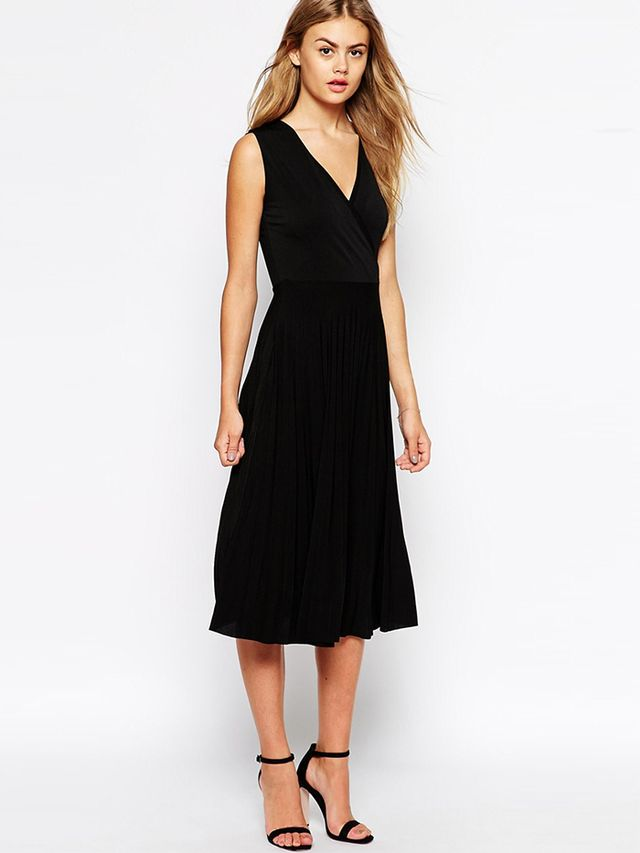 ASOS Midi Dress With Wrap Front and Pleated Skirt