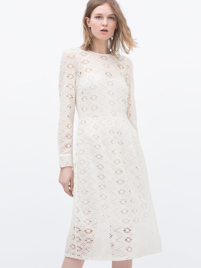Zara Embroidered Dress With Full Skirt