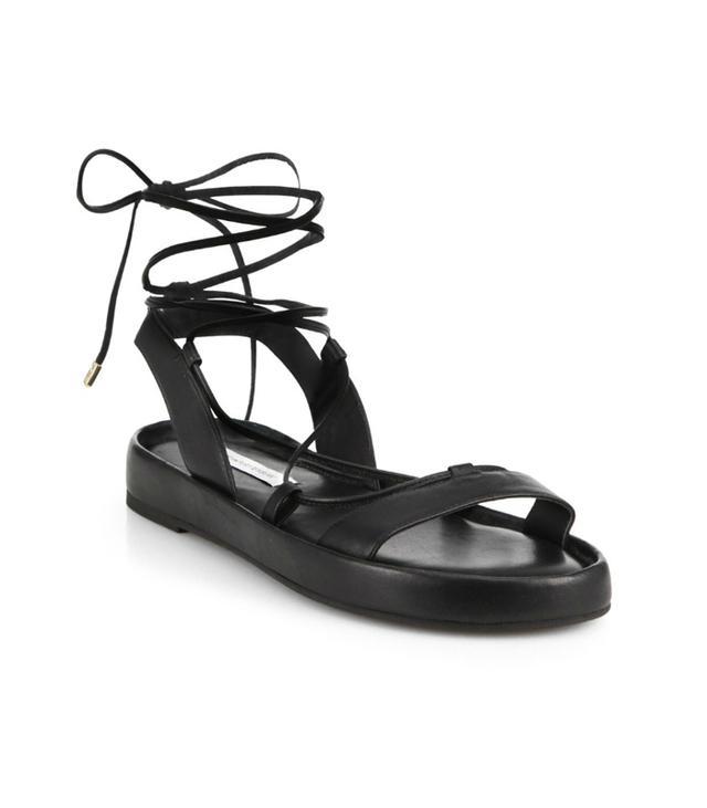 Diane von Furstenberg Susie Lace-Up Flat Leather Sandals