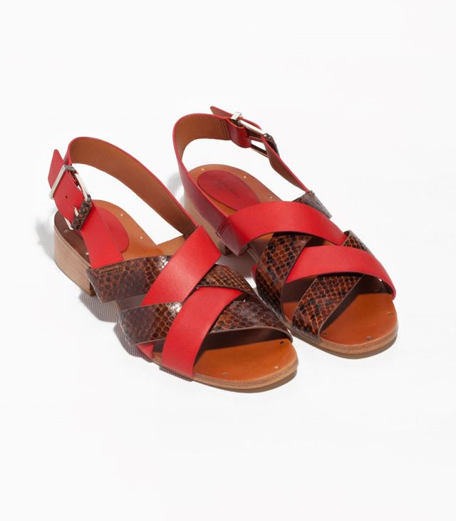 & Other Stories Low Heel Leather Sandals