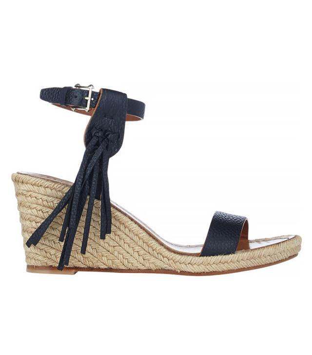 Valentino Fringe-Trim Platform Wedge Sandals in Black